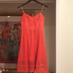 J. Crew | Coral Lace Spaghetti Strap Summer Dress